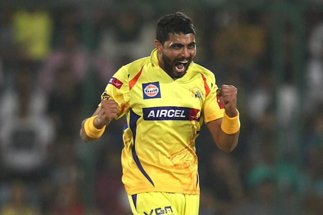 Ravindra Jadeja of Chennai Super Kings celebrates getting Dinesh Karthik of Mumbai Indians wicket during the qualifier 1 match of the 2013 Pepsi Indian Premier League between The Chennai Superkings an