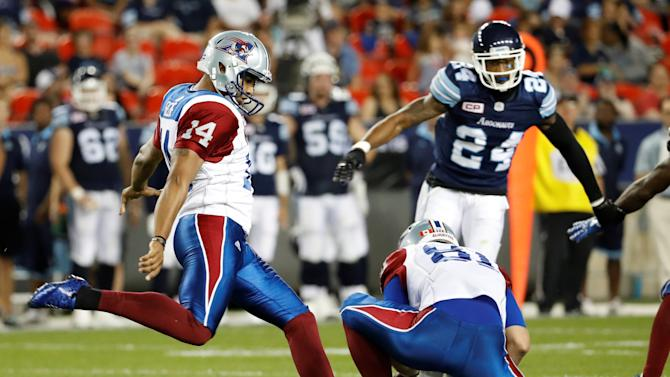 Alouettes kicker Bede misses a field goal attempt against the Argonauts during their CFL game in Toronto