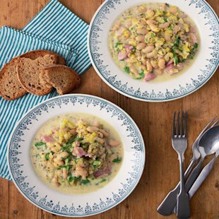 Chunky Ham, White Bean and Leek Casserole