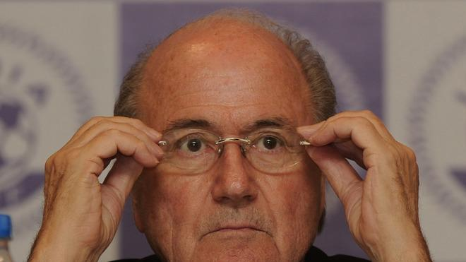 FIFA President Joseph.S.Blatter Gestures As He Addresses Media Representatives In New Delhi On March 9, 2012.   Blatter AFP/Getty Images