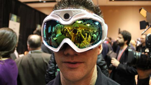 One of the big draws at the 2013 Consumer Electronics Show in Las Vegas are these ski goggles, which come with an on-board HD camera.