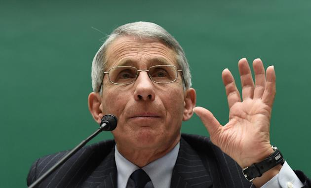 FILE - In this Feb. 3, 2015 file photo, Dr. Anthony Fauci, Director, National Institute of Allergy and Infectious Diseases, National Institutes of Health, testifies on Capitol Hill in Washington. A ma