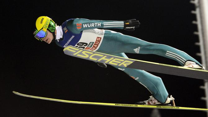 Second placed Kraus of Germany competes during the men's Ski Jumping HS 142 Large Hill Individual competition at the FIS World Cup Ruka Nordic Opening in Kuusamo