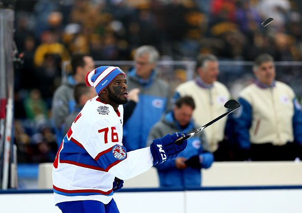 FOXBORO, MA - JANUARY 01: P.K. Subban #76 of the Montreal Canadiens warms up prior to the 2016 Bridgestone NHL Winter Classic against the Boston Bruins at Gillette Stadium on January 1, 2016 in Foxboro, Massachusetts. (Photo by Maddie Meyer/Getty Images)