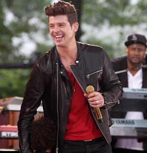 Robin Thicke performs on ABC's 'Good Morning America' at Rumsey Playfield, Central Park, New York City, on May 25, 2012 -- Getty Premium