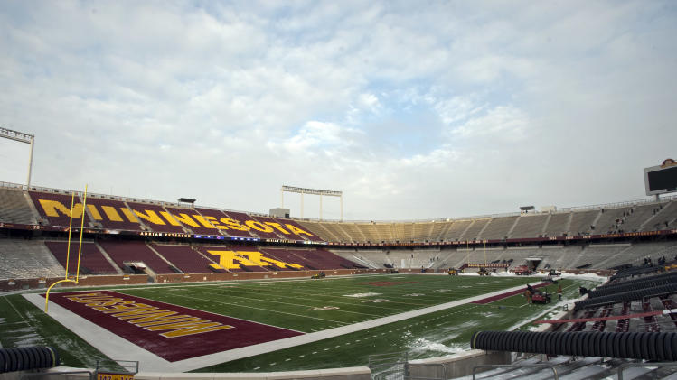 Snow removal is nearly complete at TCF Stadium, home of the University of Minnesota football team and the temporary home for the Minnesota Vikings, as the collapsed Metrodome is under repair in Minneapolis, Friday, Dec. 17, 2010. The Vikings will host Monday night's NFL football game against the Chicago Bears at TCF Bank Stadium, as repairs continue at the Metrodome,where the roof deflated after a snowstorm. (AP Photo/Craig Lassig)