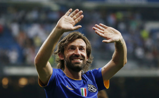 Football - Real Madrid v Juventus - UEFA Champions League Semi Final Second Leg - Estadio Santiago Bernabeu, Madrid, Spain - 13/5/15 Juventus' Andrea Pirlo celebrates at the end after reaching the UEFA Champions League Final Reuters / Paul Hanna