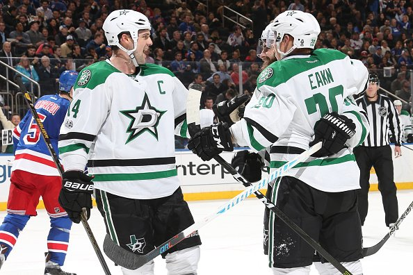 NEW YORK, NY - JANUARY 17: Cody Eakin #20 and Jamie Benn #14 of the Dallas Stars celebrate after scoring a goal in the second period against the New York Rangers at Madison Square Garden on January 17, 2017 in New York City. (Photo by Jared Silber/NHLI via Getty Images)
