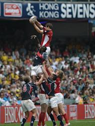 Hong Kong (blue) and Canada (red) compete in a line-out during the Hong Kong Rugby Sevens tournament, on March 23, 2013. With Sevens making its debut as an Olympic sport in Rio in 2016, coaches and players across the world are setting their sights on a place at the next Games