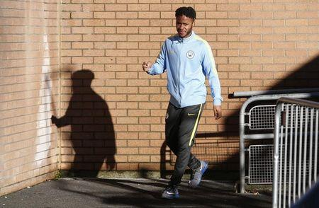 Manchester City's Raheem Sterling arrives before the match