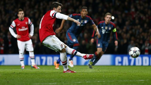 Champions League - Ozil penalty miss costly as Bayern throttle 10-man Arsenal