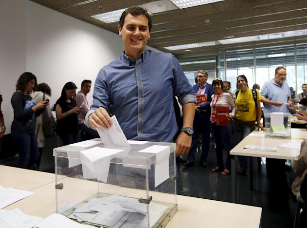 Ciudadanos' party leader Rivera casts his ballot at a polling station in Barcelona