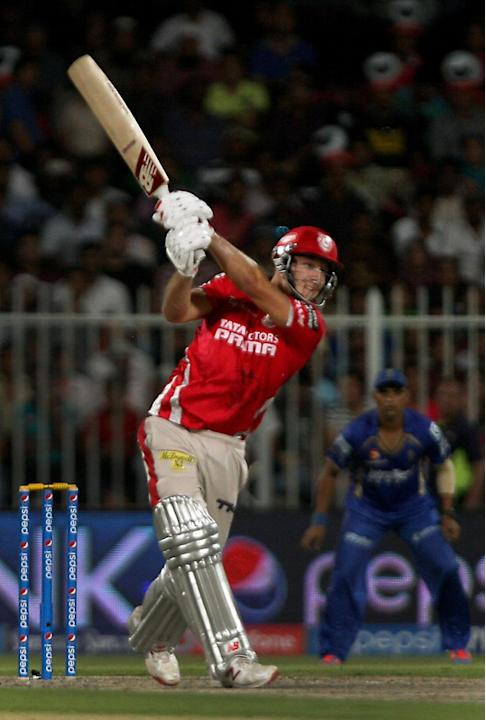 Kings XI Punjab batsman David Miller in action during the seventh match of IPL 2014 between Rajasthan Royals and Kings XI Punjab, played at Sharjah Cricket Stadium in Sharjah of United Arab Emirates o