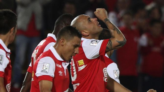Perez of Colombia's Santa Fe celebrates after scoring a goal against Venezuela's Zamora FC during their Copa Libertadores soccer match in Bogota