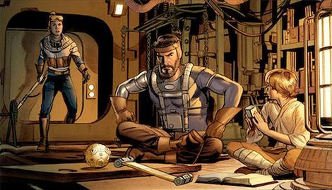 Jedi Kane Starkiller with his two sons, Deak and Annikin.