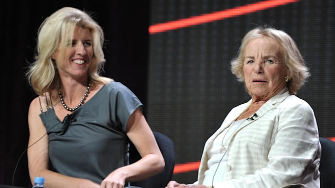 """Director Rory Kennedy, left, and Ethel Kennedy appear onstage during HBO's TCA panel for """"Ethel"""" at the Beverly Hilton hotel on Wednesday, Aug. 1, 2012, in Beverly Hills, Calif. Ethel Kennedy and her daughter, Rory, spoke to the Television Critics Association about Rory Kennedy's documentary """"Ethel,"""" which will air Oct. 18 on HBO. (Photo by John Shearer/Invision/AP)"""