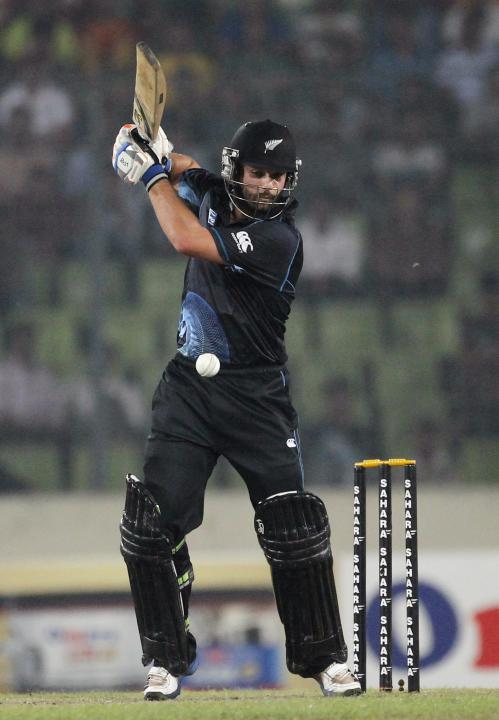 New Zealand's Anton Devcich plays a shot against Bangladesh during their second ODI cricket match in Dhaka