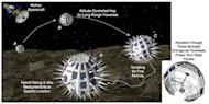 "This illustration depicts the Phobos Surveyor mission concept, which would land small, spiky ""hedgehog"" probes on Mars' largest moon, Phobos, while a mother ship monitored the landers from nearby."