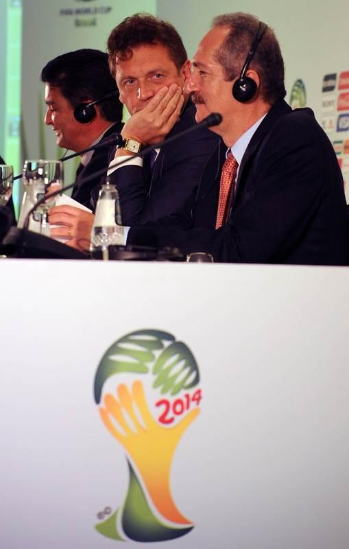 FIFA General Secretary French Jerome Valcke (C) And Brazilian Minister Of Sports Aldo Rabelo Take Part In A Press AFP/Getty Images