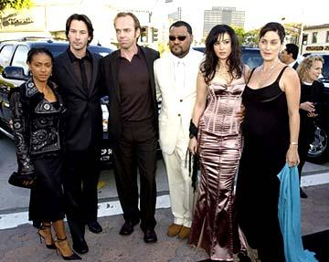 Premiere: Jada Pinkett Smith, Keanu Reeves, Hugo Weaving, Laurence Fishburne, Monica Bellucci and Carrie Anne Moss pose for the Matrix Pageant at the Hollywood premiere of Warner Brothers' The Matrix: Reloaded - 5/7/2003
