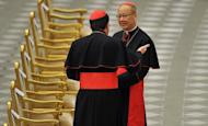 Cardinal John Tong Hon (R), the bishop of Hong Kong, will be one of the three delegated chairmen at the synod of bishops in the Vatican in October, the Vatican announced Saturday