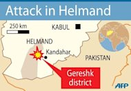 Map of Afghanistan locating Gereshk district in Helmand province. A bomb attack has killed 11 women and children from two families, destroying their vehicle in southern Afghanistan, officials tell AFP said Saturday.