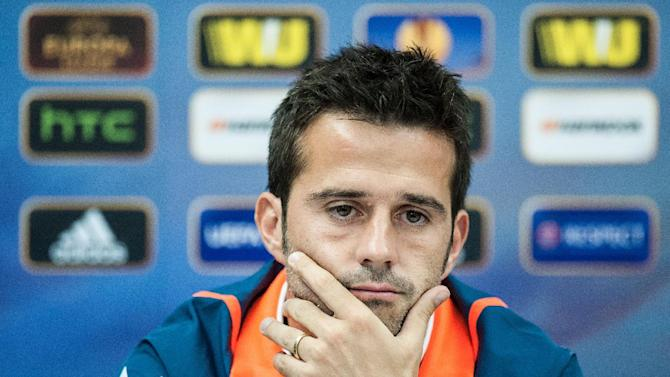 Manager of GD Estoril Praia soccer team Marco Silva listens to a question during a press conference in Liberec, Czech Republic, Wednesday, Oct. 2, 2013. Estoril will play against Slovan Liberec in Europa League Group H match on Thursday, Oct. 3. (AP Photo CTK, Radek Petrasek)