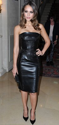 Jessica Alba sexes up her style in leather Versace at Paris Fashion Week