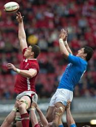 Wales lock Ian Evans (L) and Italy flanker Alessandro Zanni compete for the ball in a line out during their Six Nations rugby union match at the Millennium Stadium in Cardiff, Wales. Wales won 24-3