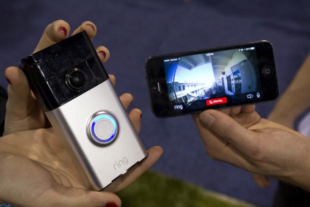 A Ring video doorbell is displayed during the 2015 International Consumer Electronics Show (CES) in Las Vegas