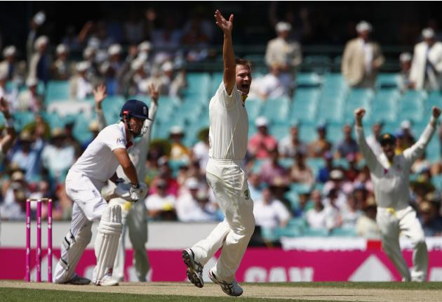 England's captain Cook reacts as Australia's Harris appeals successfully for LBW to dismiss Cook for seven runs during the second day of the fifth Ashes cricket test at the Sydney cricket grou