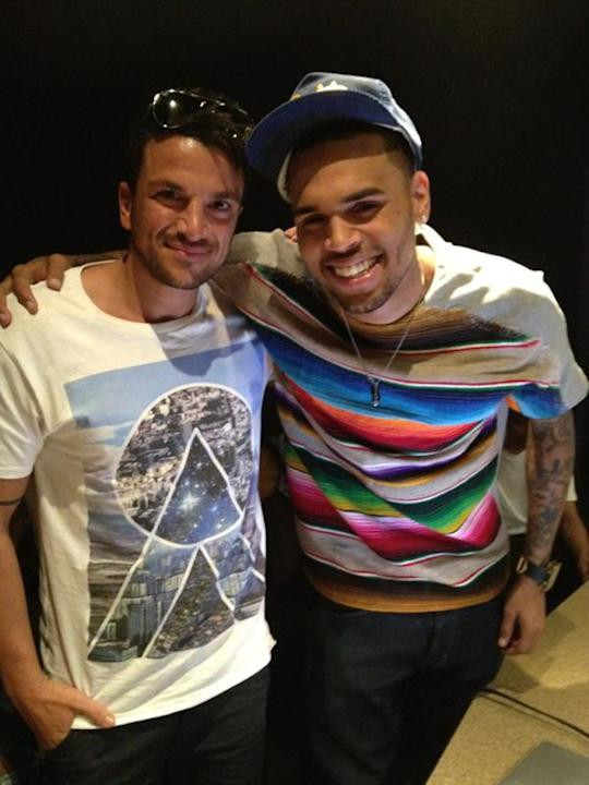 Celebrity photos: Peter Andre is over in America at the moment recording tracks for his new album. Whilst he was in the recording studio he bumped into singer Chris Brown, and the pair posed for this