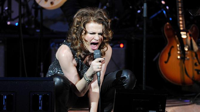 "Actress and singer Sandra Bernhard performs at ""The Music of Prince"" tribute concert at Carnegie Hall on Thursday March 7, 2013 in New York. (Photo by Evan Agostini/Invision/AP)"