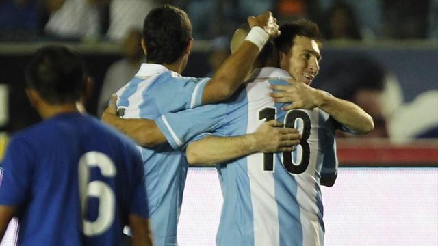 South American Football - Messi eclipses Maradona record with hat-trick for Argentina