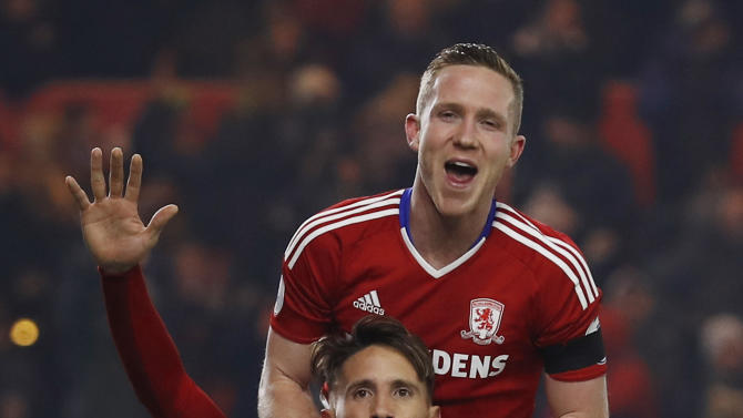 Middlesbrough's Gaston Ramirez celebrates scoring their first goal with Adam Forshaw
