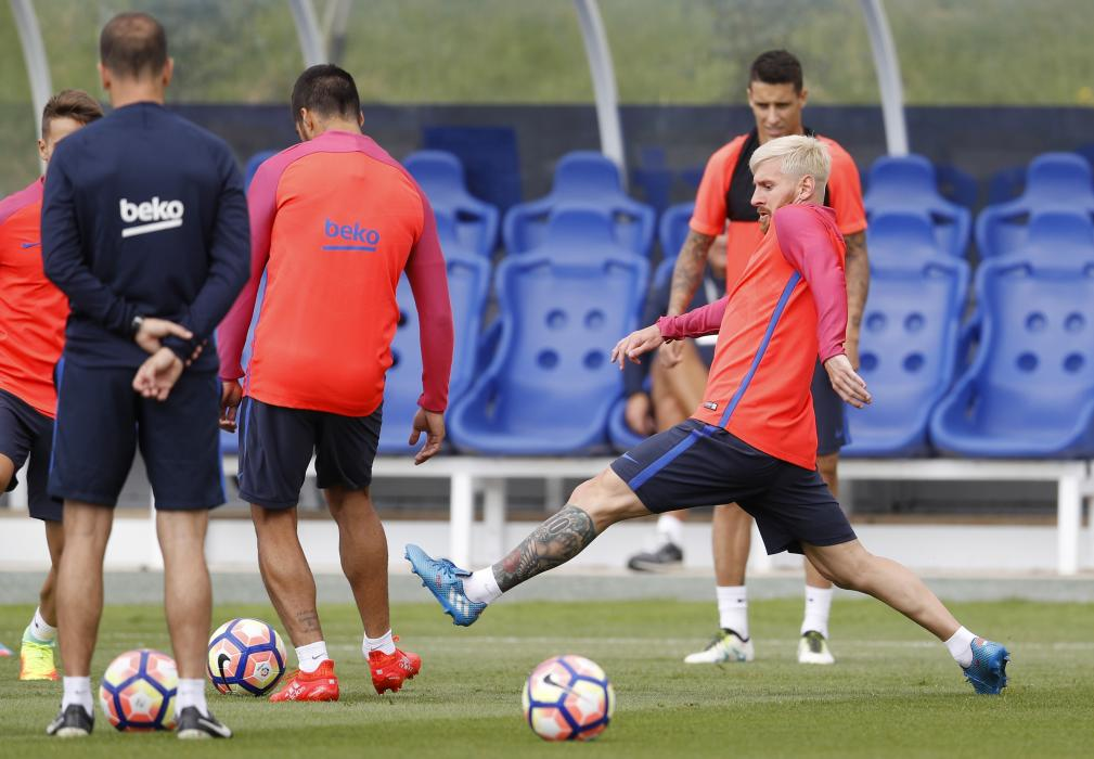 Barcelona's Lionel Messi during training