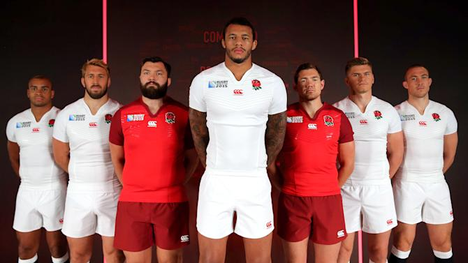 RUGU: England's Jonathan Joseph, Chris Robshaw, Alex Corbisiero, Courtney Lawes, Alex Goode, Owen Farrell and Mike Brown pose with the new England Canterbury Rugby World Cup shirts