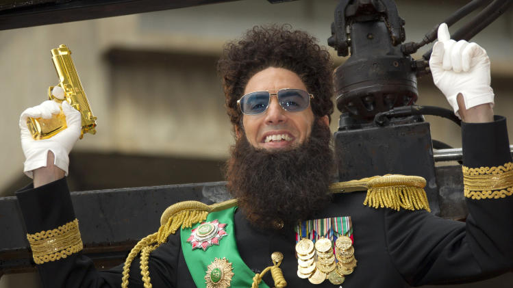 British actor Sacha Baron Cohen, who plays Admiral General Aladeen, arrives for the World Premiere of 'The Dictator', at a cinema in Southbank in central London, Thursday, May 10, 2012. (AP Photo/Joel Ryan)
