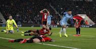 Britain Football Soccer - AFC Bournemouth v Manchester City - Premier League - Vitality Stadium - 13/2/17 Manchester City's Sergio Aguero celebrates scoring their second goal Action Images via Reuters / Matthew Childs Livepic