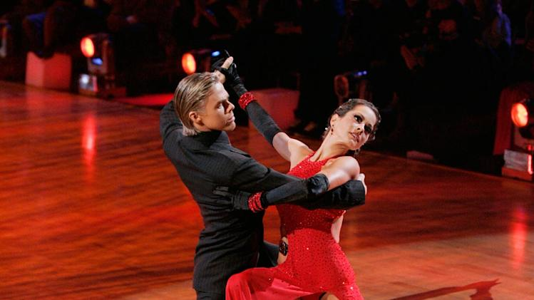 Derek Hough and Brooke Burke perform a dance on the seventh season of Dancing with the Stars.