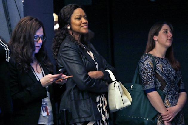 Grace Hightower De Niro, watches New York University's Tisch School of the Arts commencement  ceremony,  Friday, May 22, 2015, in New York. Her husband, Robert De Niro, who quit high school to pur