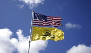 The United States flag and the historic American Gadsden …