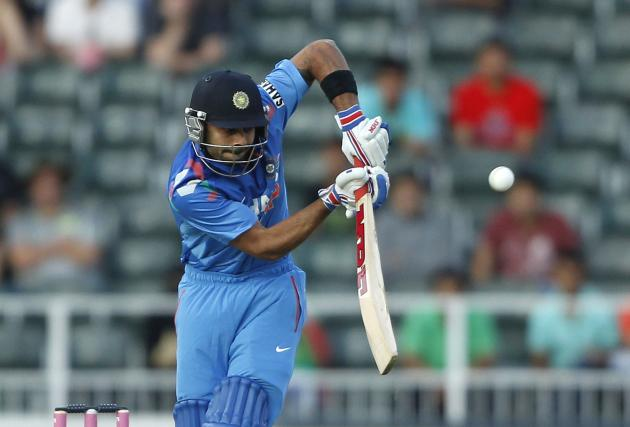India's Rhit Sharma plays South Africa's Morkel delivery during their first ODI in Johannesburg