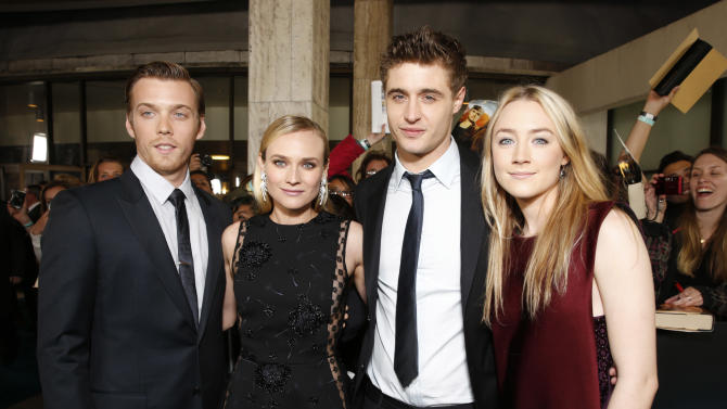 """Jake Abel, Diane Kruger, Max Irons and Saoirse Ronan arrive at the LA premiere of """"The Host"""" at the ArcLight Hollywood on Tuesday, March 19, 2013 in Los Angeles. (Photo by Todd Williamson/Invision/AP)"""