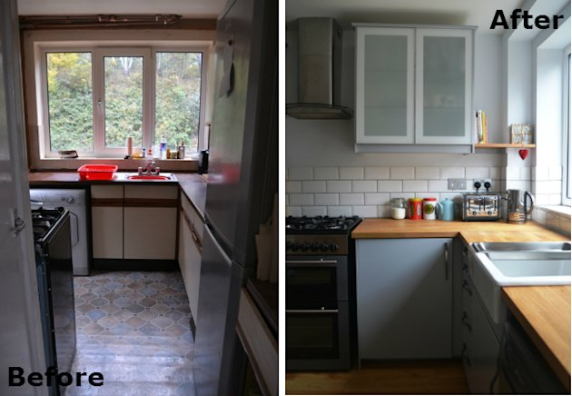 Before after a small 39 70s kitchen remodel puts every inch to work yahoo homes - Remodeling a small kitchen before and after ...