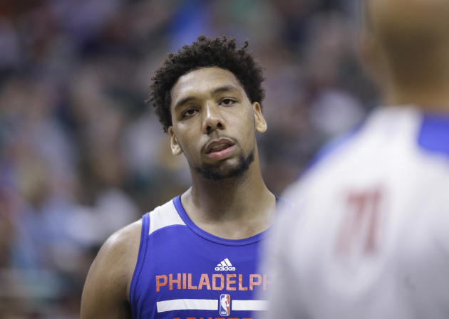 Philadelphia 76ers Jahlil Okafor looks on during the first half of an NBA summer league basketball game against the San Antonio Spurs Monday, July 6, 2015, in Salt Lake City.  (AP Photo/Rick Bowmer)