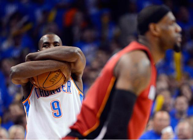 Serge Ibaka #9 Of The Oklahoma City Thunder Holds Getty Images