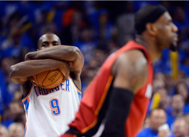 Serge Ibaka #9 Of The Oklahoma City Thunder Holds Getty Images