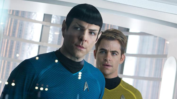 "This undated publicity film image released by Paramount Pictures shows, Zachary Quinto, left, as Spock and Chris Pine as Kirk in a scene in the movie, ""Star Trek Into Darkness,"" from Paramount Pictures and Skydance Productions. Since premiering Wednesday, May 15, 2013 in huge-screen IMAX theaters and expanding Thursday to general cinemas, ""Into Darkness"" has pulled in $84.1 million, well below distributor Paramount's initial forecast of $100 million. (AP Photo/Paramount Pictures, Zade Rosenthal)"