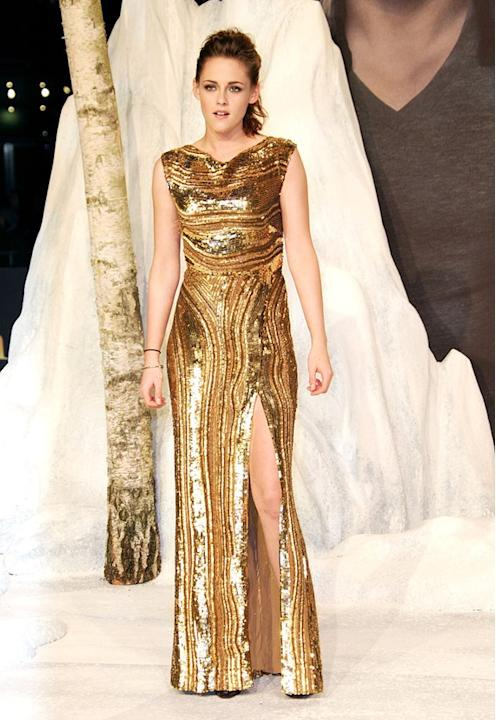 """We are so used to seeing Kristen Stewart in Converse sneakers and hooded sweatshirts that we were dazzled by her glam turn during the press tour for """"The Twilight Saga: Breaking Dawn – Part 2."""" The hi"""